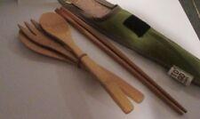 Bamboo Travel Utensils To-Go Ware Utensil Set w Green Carrying Case Chop Sticks