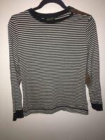 Ralph Lauren L Womens White Black Stripe Top Long Sleeve Shirt Zipper Shoulder