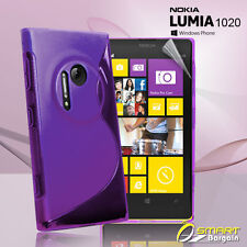 Purple S Curve Gel Case For Nokia Lumia 1020 + SP Tpu Jelly Skin Soft Cover