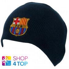FC BARCELONA FOOTBALL SOCCER CLUB TEAM NAVY KNITTED BEANIE HAT WINTER CAP NEW