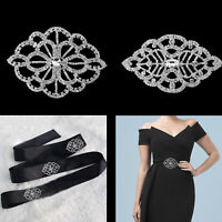 Diamante Silver Motif Sparkling Crystal Applique Patches Sew On for DIY Dresses