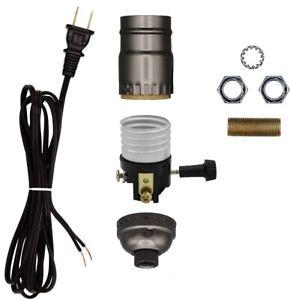 Creative Hobbies Make a Lamp Kit with Basic Hardware - Black Cord, Grey Socket