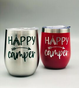 Happy Camper Stainless Steel Wine Tumbler 12 oz with Lid, Straw and Cleaner