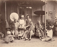 Vintage 1875 Photograph of Group of Monks by C. Murray, Burma