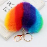 Keyring Soft Fluffy Faux Rabbit Fur Heart HandBag Pendant Charm Pompom Keychain