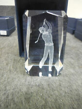 """NEW 3-D LASER ETCHED 3"""" x 2"""" CRYSTAL GLASS CUBE GOLFER"""