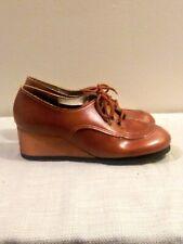 NOS Vtg 70's Cognac Brown Wood Wedge Heel  Tie Oxford Boho Shoes 7.5m