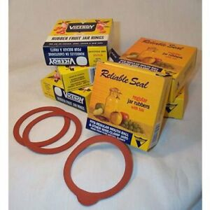 Old-Style Canning Jar Rubber Sealing Rings Wide Mouth With Tabs Box of 12