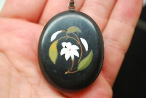 Victorian Pietra Dura Oval Floral Picture Pendant Necklace Sterling Silver