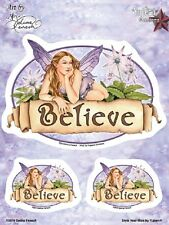 "(#132) BELIEVE FAIRY 6"" x 3.75"" sticker decal 3-pack (Y353) Selena Fenech"