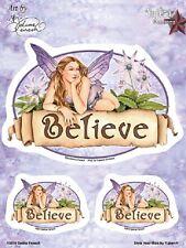 """(#132) BELIEVE FAIRY 6"""" x 3.75"""" sticker decal 3-pack (Y353) Selena Fenech"""