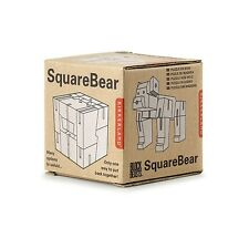 Kikkerland Square Bear 3D Wooden Animal Puzzle Block Beast Fun Children Gift