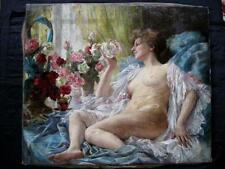 KARL A. SCHLEGEL; NACKTE SCHÖNHEIT VOR FENSTER; EROTIK; SALONMALEREI; CA. 1880