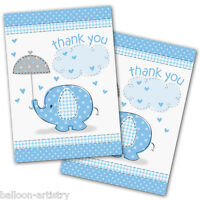 8 Blue Boy's CUTE ELEPHANT Baby Shower Party Thank You Notes Cards