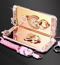 Luxury Chrome Mirror Bling Diamond Metal Ring Holder Stand Case Cover with Strap