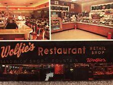 RARE VINTAGE 1967 POSTCARD: WOLFIE'S RESTAURANT & FOUNTAIN: PETERSBURG, FLORIDA
