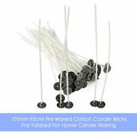 100mm (10cm) Pre-Waxed Cotton Candle Wicks - Pre-Tabbed Home Candle Making Wick