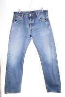 Levis Mens 501 Button Fly Medium Wash Blue Straight Leg Jeans Size 36X32