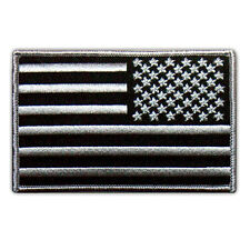 VEGASBEE® USA FLAG US REVERSED EMBROIDERED PATCH SUBDUED BLACK-GRAY IRON-ON 4""