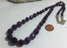 Authentic facet Amethyst beads necklace/7mm to 12mm beads(z155-w2)