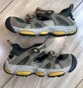 "Sz 6 Toddler STRIDE RITE ""Argo"" Boys Brown Black & Orange Closed Toe Sandals"