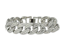 Miami Cuban Link Icy Cz Bracelet 14k White Gold Plated 8 inches