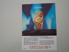 advertising Pubblicità 1965 OROLOGIO CERTINA DS
