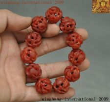 Old Chinese Natural Red Agate Onyx carved Crane bird Bracelet Bangle Hand Chain