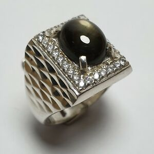 7.22 ct. GENTLEMEN RING WITH 12 RAYS BLACK SAPPHIRE NATURAL UNTREATED
