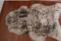 Real White black sheepskin rug genuine nice soft wool carpet long XL white brown