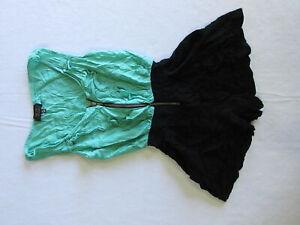 Ice Fashion Womens Playsuit Size XS Green Black Sleeveless Ruffle Front Zip
