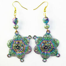 Multicolor Tibetan Silver Flower Titanium Crystal Agate Hematite Pendant Earring