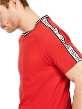 GUESS Mens Red S/Sleeve Logo Stripe Retro Crew Neck Tee T-Shirt Top L NEW
