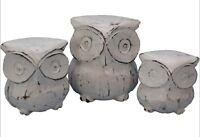 Set of 3 White Owls Indoor Ornament Timber Wood Figurine Owl Set