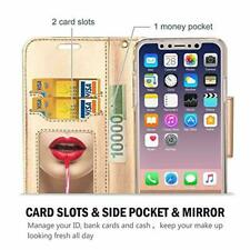 iPhone XS/iPhone X Wallet Case, Flip Kickstand Case with Card Slots Mirror