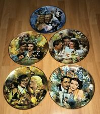 5 GOLDEN AGE OF CINEMA COLLECTORS MGM PLATES GABLE HEPBURN GARLAND GRANT LOT