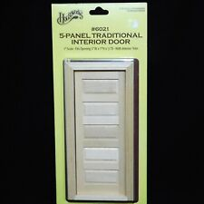 "Houseworks 5 Panel Traditional Interior Wood Door 6021 1"" Scale Doll House NEW"