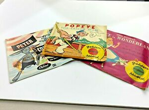 Vintage Popeye, Alice in Wonderland and Peter Cotton Tail records Used (3 total)