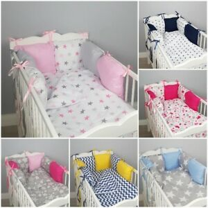 8 pc cot/cot bed bedding sets PILLOW BUMPER + CASES stars blue grey pink nursery