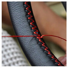 Black Genuine Leather DIY Car Steering Wheel Cover With Needles Red Thread Solid