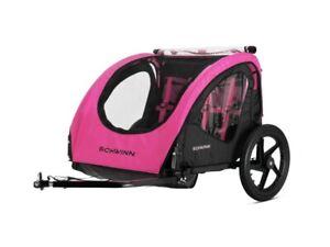 Schwinn Shuttle foldable bike trailer, 2 passengers, pink / black