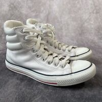 CONVERSE All Star Padded Collar High Tops White Unisex Leather Trainers UK 7 / 9