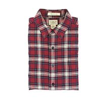LL BEAN Red Plaid 100% Cotton Flannel Traditional Fit Shirt Size M EUC