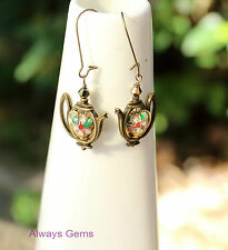 """Bronze tone Teapot """"Samovar"""" with Cloisonné Heart cute earrings Handmade new"""