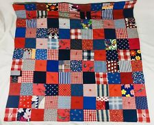 Handmade Patchwork Quilt Throw Mid Century Child Baby Crib 32x37 Red Blue White