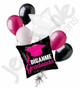 7 pc Hot Pink Díganme Graduada Balloon Bouquet Graduation Grad Congratulations