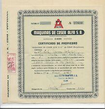 España Certificado de Propiedad Maquina de Coser ALFA del año 1948 (ER-597)