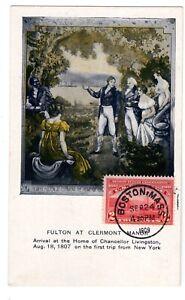 #372 Hudson-Fulton FDC Planty #2B on Fulton Postcard w/ PF & AFDCS Certs