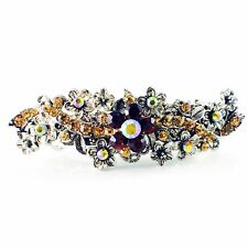 Vintage BARRETTE Rhinestone Crystal Hair Clip Hairpin Victorian Flower Brown 18