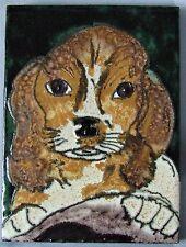 Ruscha Formano West German Pottery Dog Tile Plaque Fat Lava Beagle Portrait